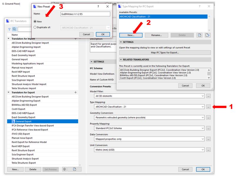 Creación de la regla de mapeado en base a GuBIMclass en el menú de traductores de IFC