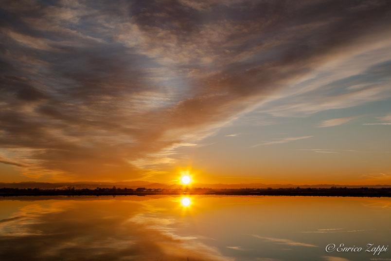 Il tramonto del 4 gennaio 2019 alle Saline di Cervia.
