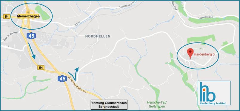 Lageplan und Anreiseskizze zum Hardenberg Institut