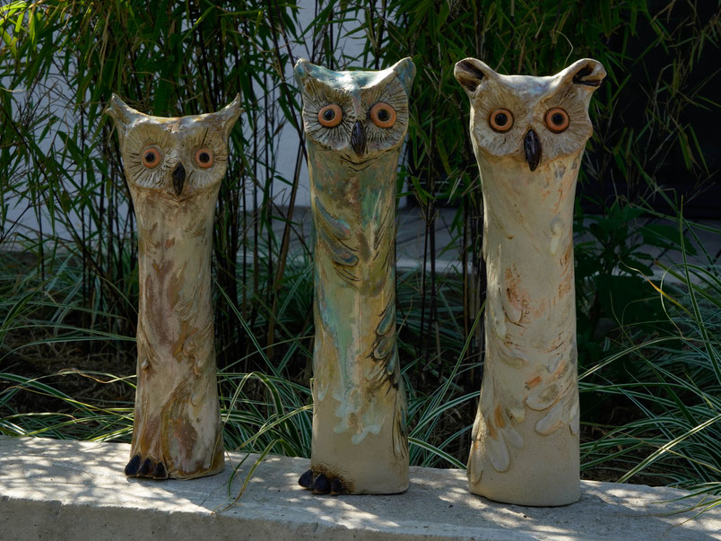 Keramik - Eulen mit Bambus im Hintergrund