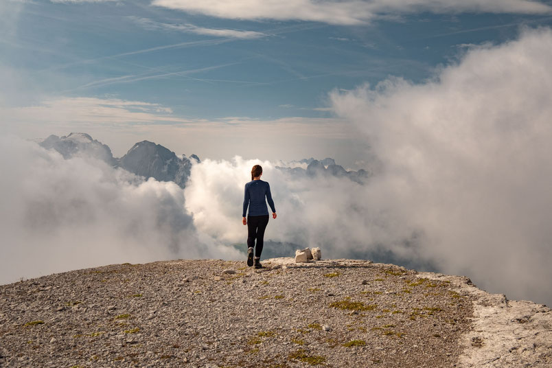 At the summit of Piz Selva which marks the end of the via ferrata Pössnecker