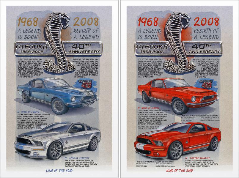 1968 Shelby GT500KR - 2008 Shelby GT500KR - Commemorative art print