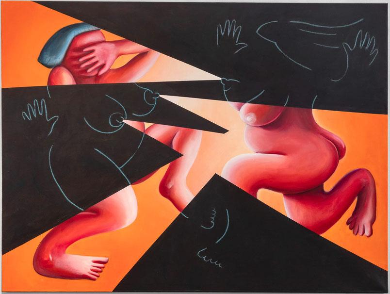 Cueva de las Manos (cave of hands), 202, Acryl und Pastell auf Leinwand, 140 x 190 cm