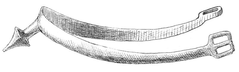 Eisensporen des Mittelalters zur Zeit der Kreuzzüge