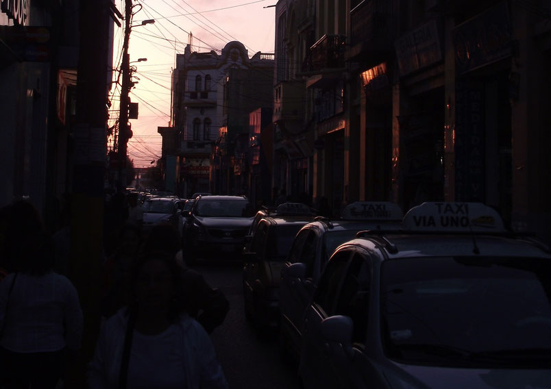 Chiclayo streets sunset taxis