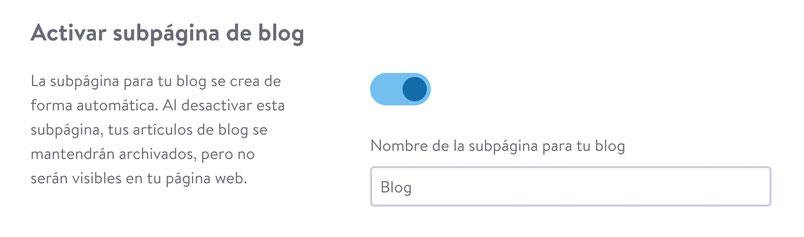 Administración de subpágina de blog de Jimdo