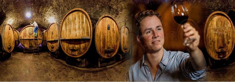 Fotomontage aus Weinkeller und Winzer