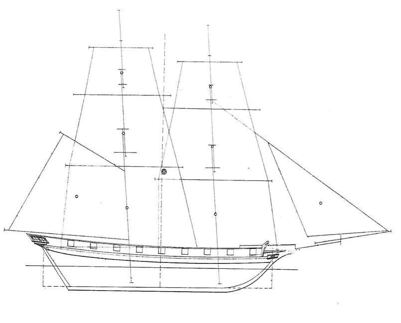 Plan du brick aviso Volage par tracé par Le Marestier, le Papillon est construit sur le même plan  (plan de l'atlas du génie maritime)