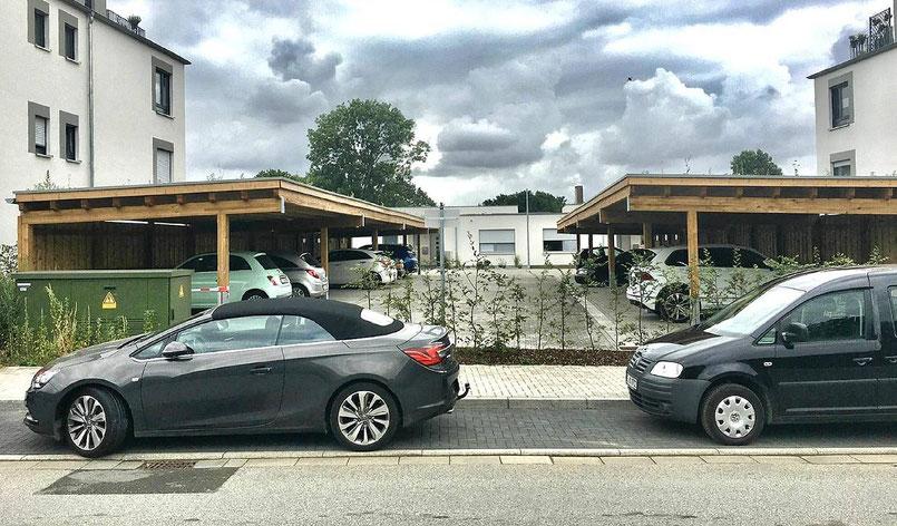 Dreiercarports reihencarports carport in holz alu stahl carport bausatz - Carport foto ...