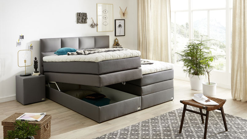 boxspringbett mit bettkasten welcon. Black Bedroom Furniture Sets. Home Design Ideas