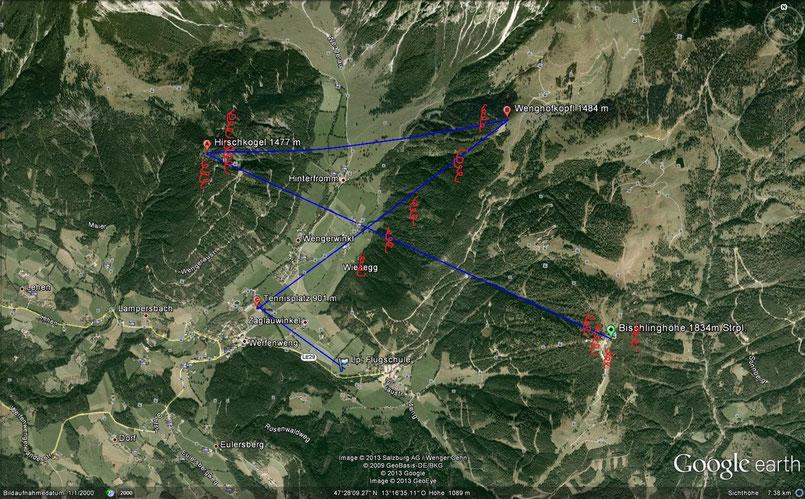 Strecke für die Überlandberechtigung in Werfenweng für Paragleiter und Hängegleiter 10 km
