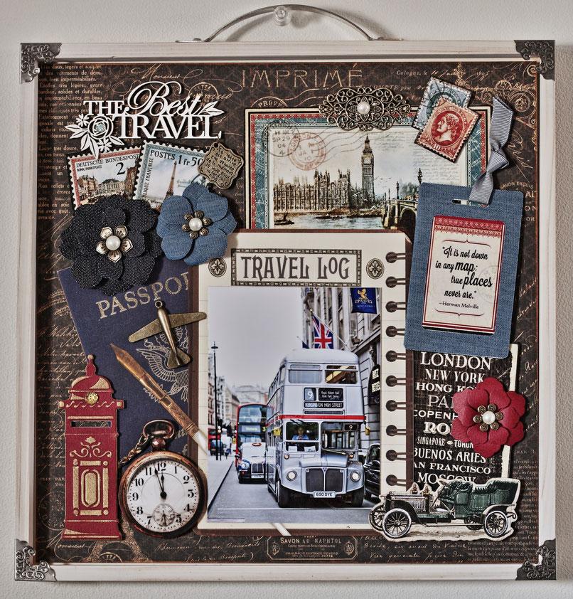 ★3月銀座ソレイユのTravel作品を5/17アトリエで受講可能です。ロンドンでカッコイイ新旧ロンドンバスを見かけ横断歩道を渡りながらシャッターを切った写真を使いました。