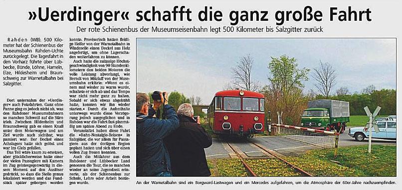 Der rote Schienenbus der Museumseisenbahn legt 500 Kilometer bis Salzgitter zurück.