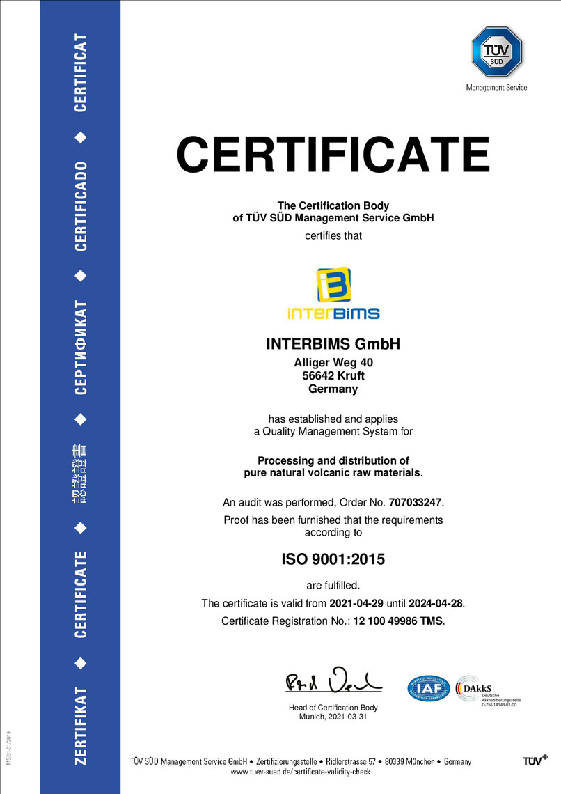INTERBIMS, Qualitätsanbieter mit Zertifikat