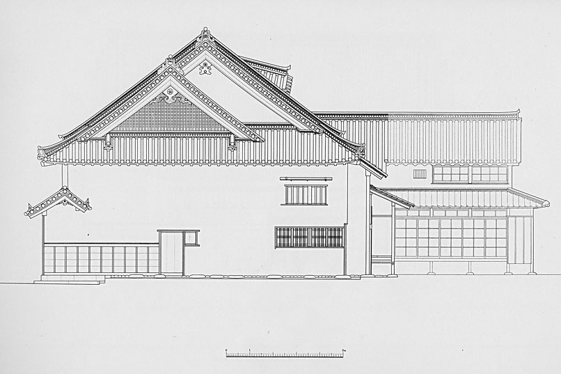今西家 西側面図/Imanishi family residence Western side view