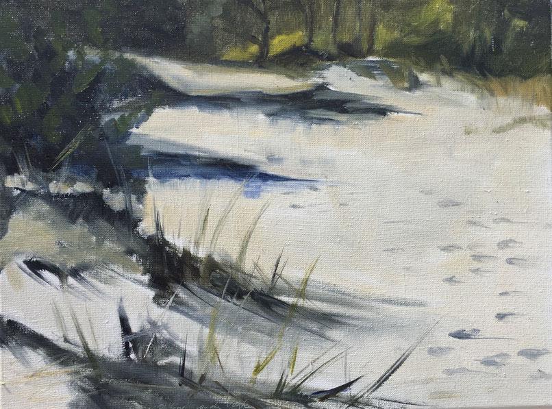 Dune path, oil on canvas 40x30 cm, plein air painting by Philine van der Vegte