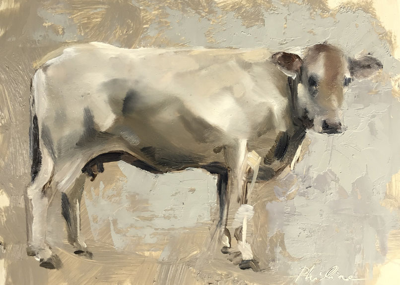 Study for a big cow painting, oil on panel 13x18 cm 🔴