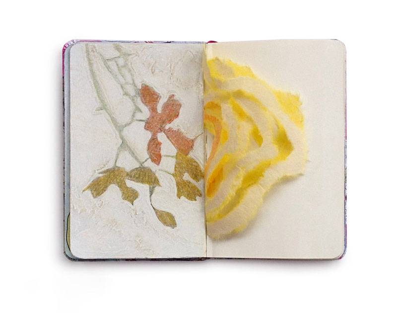 Skizzenbuch Seite. Hintergrund der Seite mit Tipp-Ex bemalt. Darauf Sonnenlichtschatten von einer Orchidee in grüner und gelber Farbe gemalt.