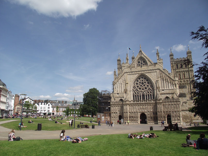 Exeter Cathedral Green, Devon, England.