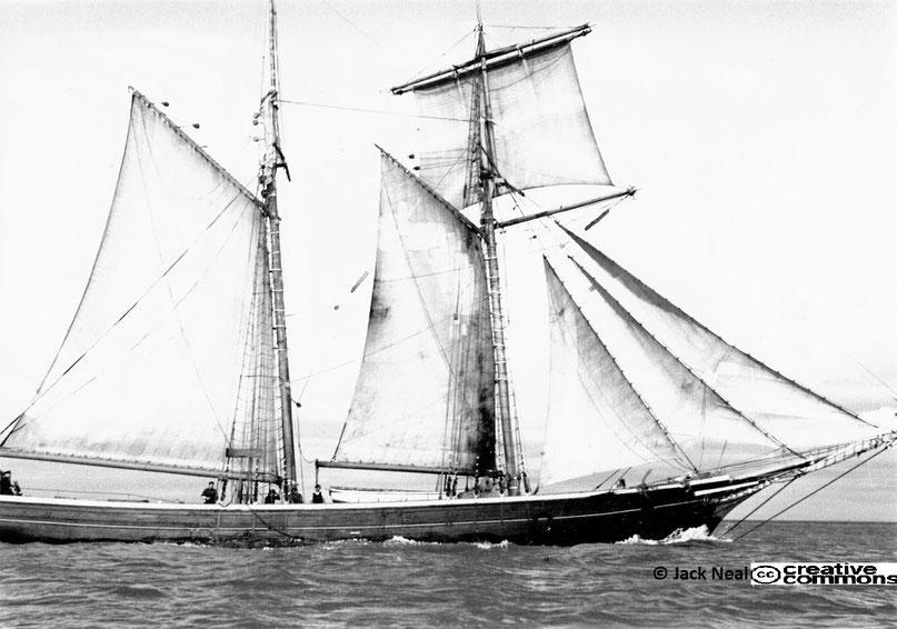 La goélette de cabotage Océanide, le capitaine Joseph Nicolas à la barre et les 4 membres de l'équipage le long du pavois (Collection Jack Neal)