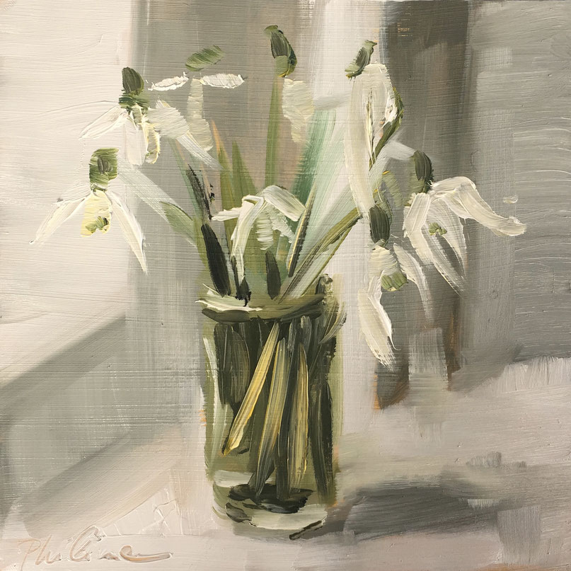 "Painting of snowdrops ""Snowdrops"", oil on panel 15x15 cm by artist Philine van der Vegte"
