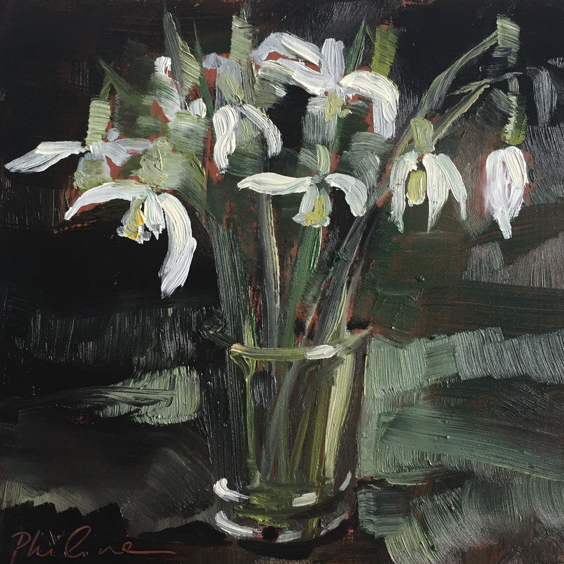 """Snowdrops in a glass"", oil painting on panel 15x15 cm by Philine van der Vegte"