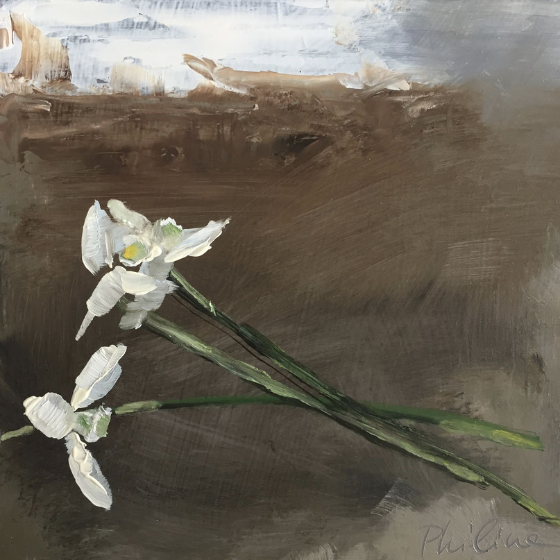"""Snowdrops on the floor"", oil on panel 15x15 cm by Philine van der Vegte"