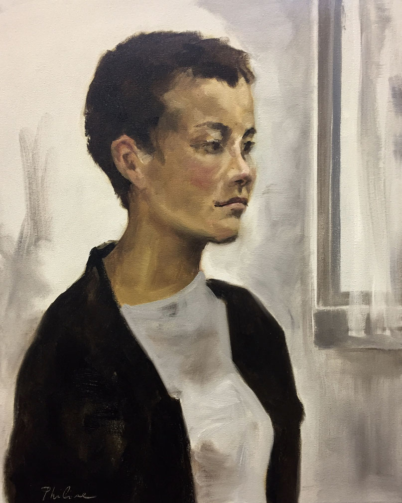 Girl by the window, portrait from life, oil on canvas 40x50 cm by Philine van der Vegte