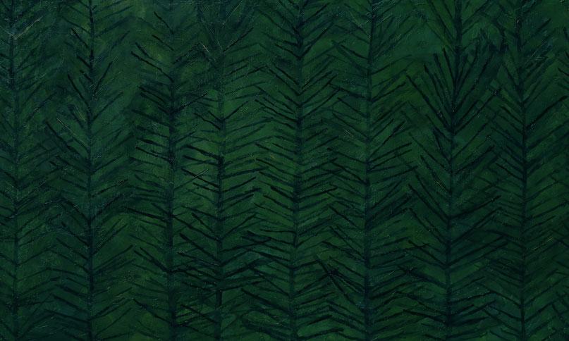 『葉音』キャンバスに油彩・インク/900mm×1500mm