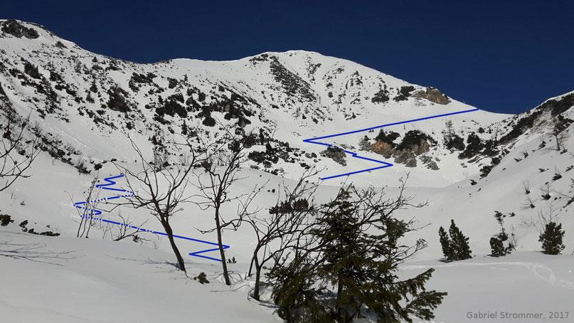 Anstiegsspur durch die teils extrem steile Südostflanke des Braunedlkogels. Die Hangneigung sieht am Foto geringer aus als sie tatsächlich ist.