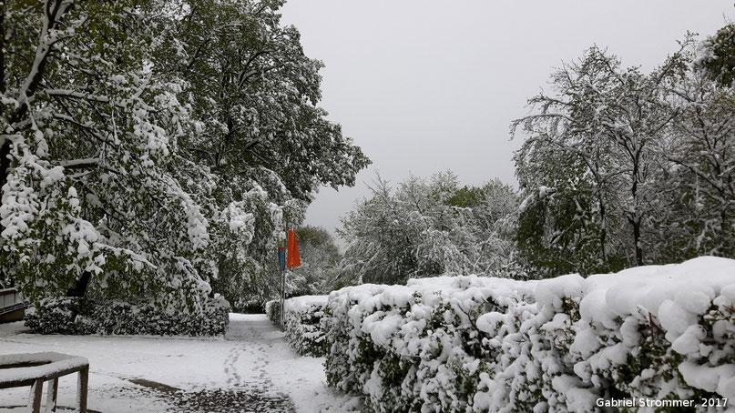 Schnee bei der Jubiläumswarte im 16 . Wiener Gemeindebezirk am 20. April 2017