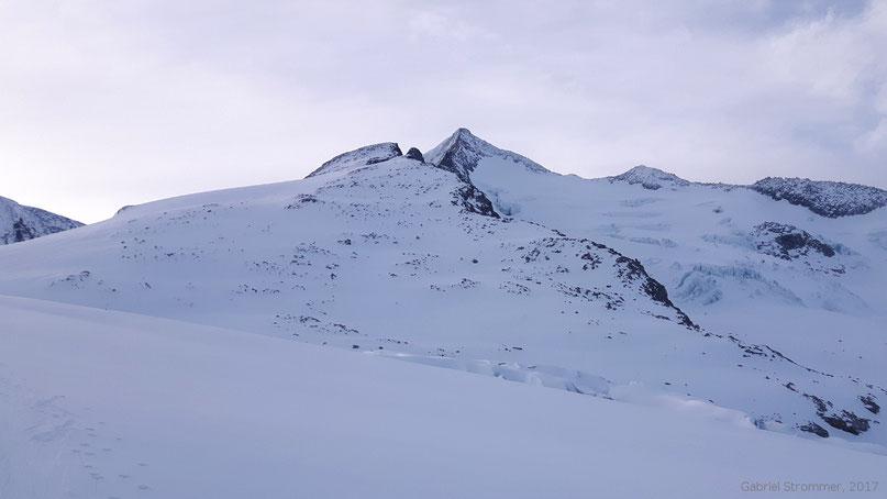 Der Gipfel des Großvenedigers (3657 m) von Nordwesten vom Venedigerkees aus gesehen. Im Bild rechts ist der Venediger Westgrat zu erkennen.