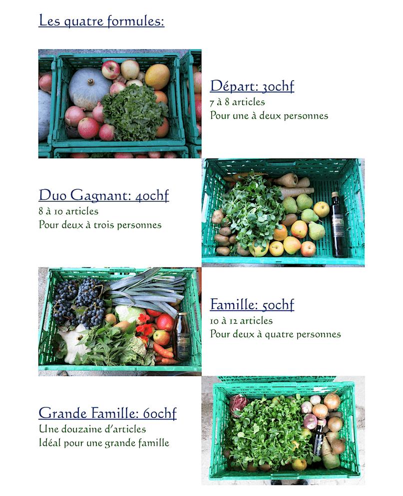 Les 4 formules des paniers de fruits et légumes bio à Crans près de Nyon
