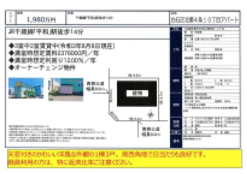 2021.08.31【売アパート】白石区 1,980万円 他5物件 モザイク済