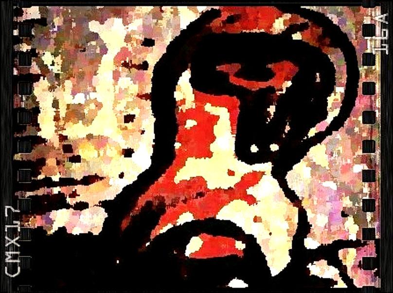 Remake als Bildkunst (fotografisch bearbeitete Handskizze) nach Henry Moore,  kopf: zyklop, 1963, Bronze auf Holzsockel, Lehmbruck Museeum Duisburg