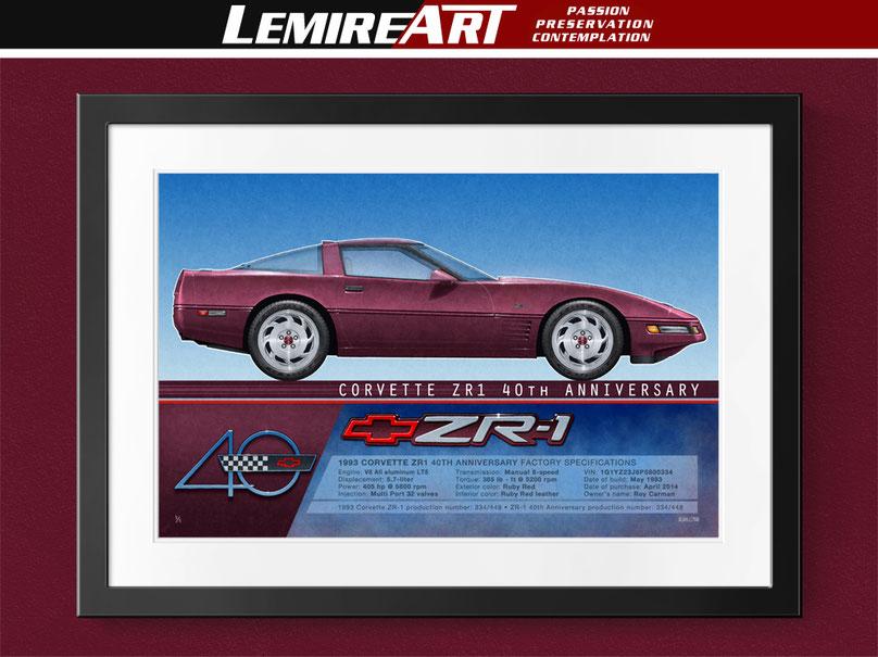 1993 Corvette ZR-1 40th Anniversary, The isometric profile view drawing of the Corvette 40th Anniversary was done 100% by automotive artist, Alain Lemire