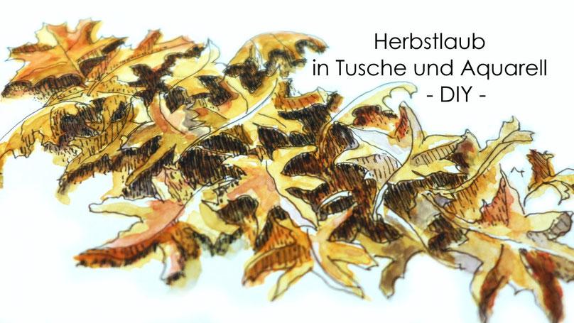 Inspiration - Herbstlaub in Tusche und Aquarell malen - DIY-Projekt