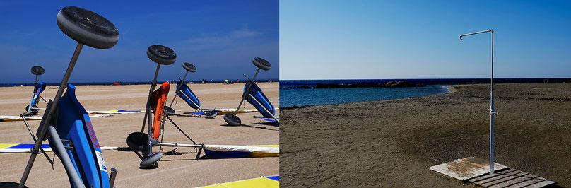 Mathieu Guillochon photographe,mer, Manche, Méditerranée, Grèce, Crète, Frangokastello, France, Normandie, Ouistreham, chars à voile, douche de plage, sable, eau, bleu.