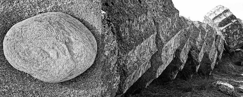 Mathieu Guillochon photographe, Grèce, Péloponnèse, Olympie, sable, galets, colonne, ruines, noir et blanc..
