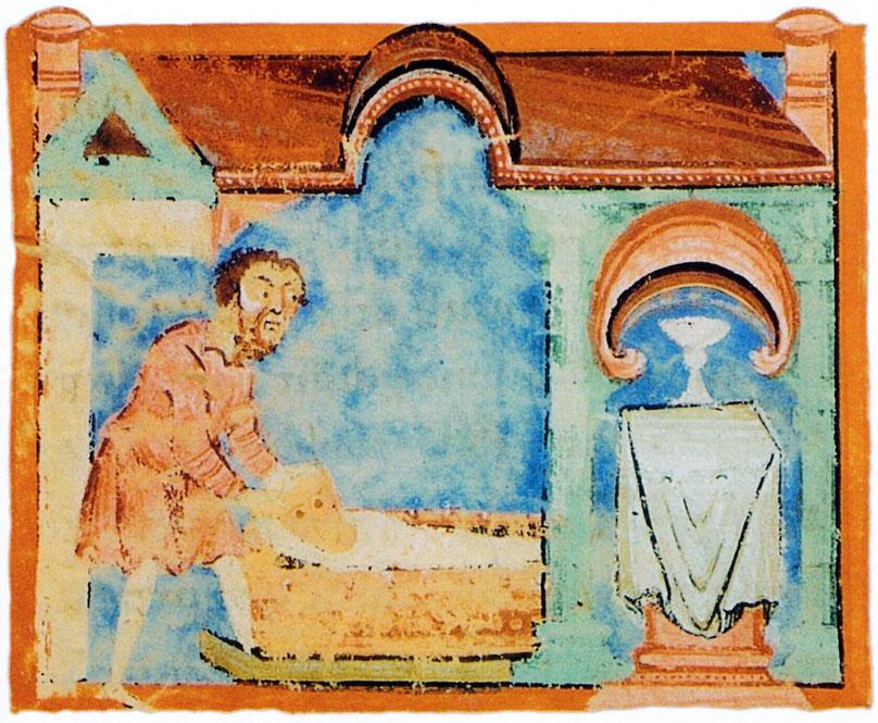 Ein Vater schiebt seine gichtkranke Tochter zum Altar des heiligen Liudger in der Hoffnung auf Heilung