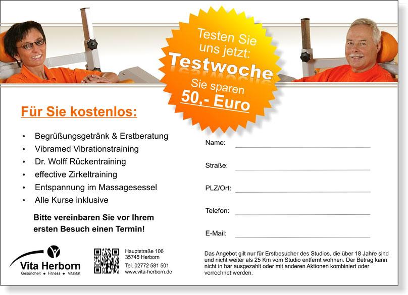Gutschein für Fitness-Testwoche im Wert von 50,- Euro hier ausdrucken
