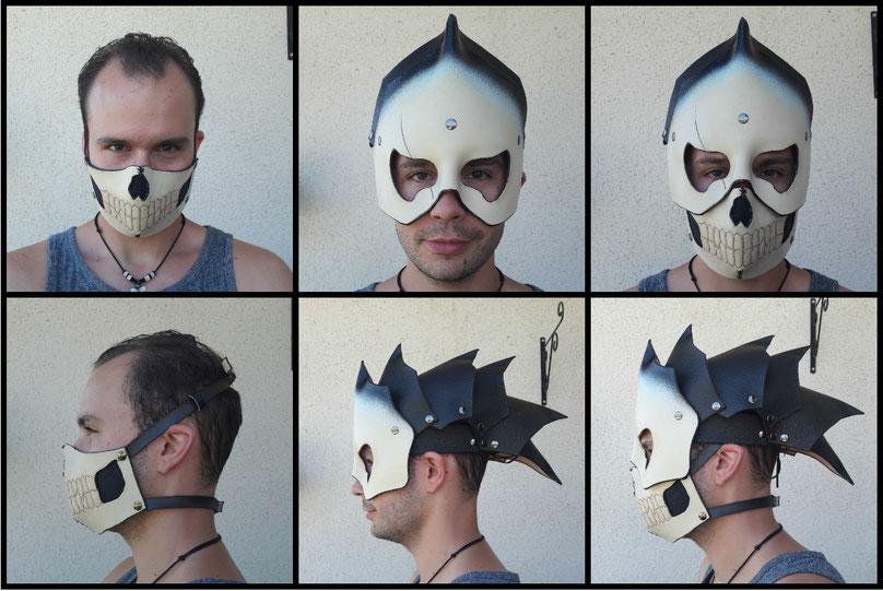 casque masque squelette en cuir