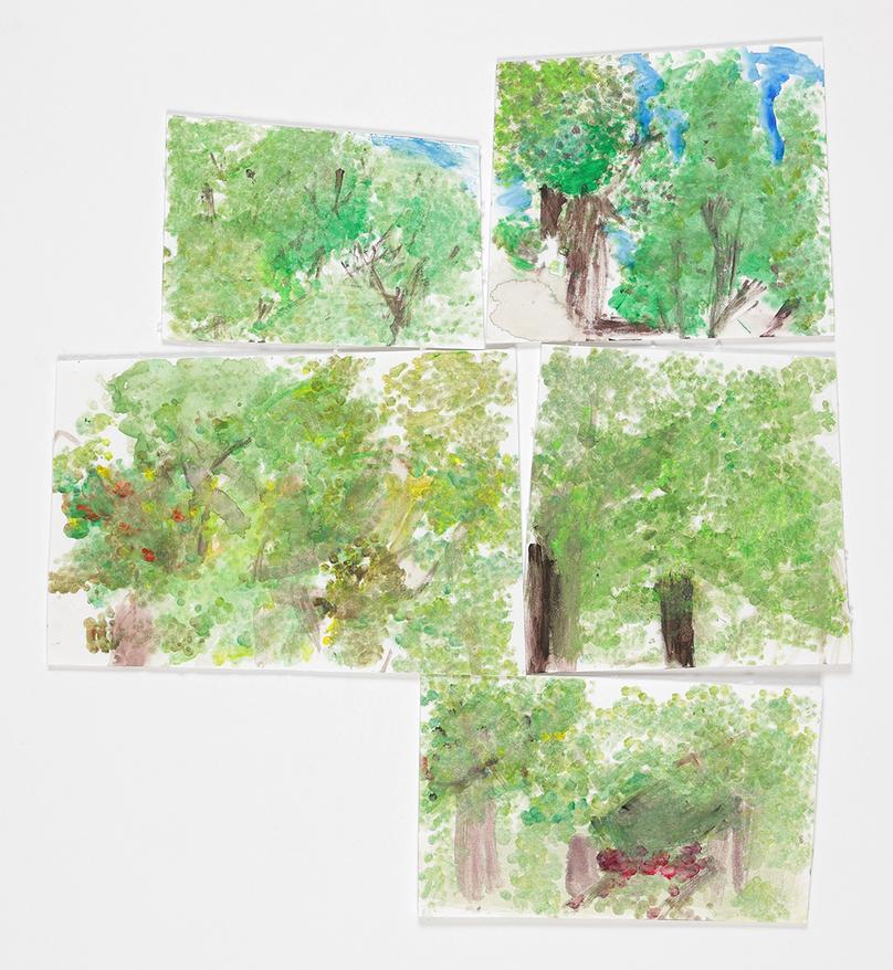 緑でいっぱいな森 (60×45cm スチレンペーパー(2㎜を不定形で小さなサイズに切っておく。)基底材となる白ボール紙、水彩絵の具) 5年生 Mさん