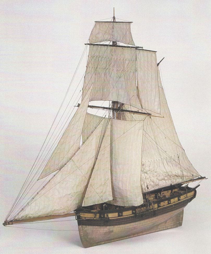Cotre français de 14 caronades vers 1830, ce type de cotre est plus « moderne » que le printemps Collection Musée de Marine