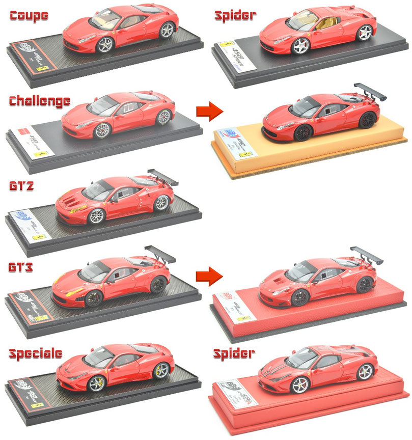 1/43 BBR Ferrari 458 Italia, フェラーリ 458 イタリア GT2, GT3, Speciale, スペチアーレ