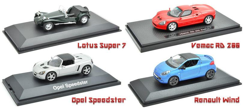1/43 Lotus Super 7, Vemac RD 200, Opel Speedster, Renault Wind ロータス・スーパー7、ヴィ―マックRD200、オペル・スピードスター、ルノー・ウィンド