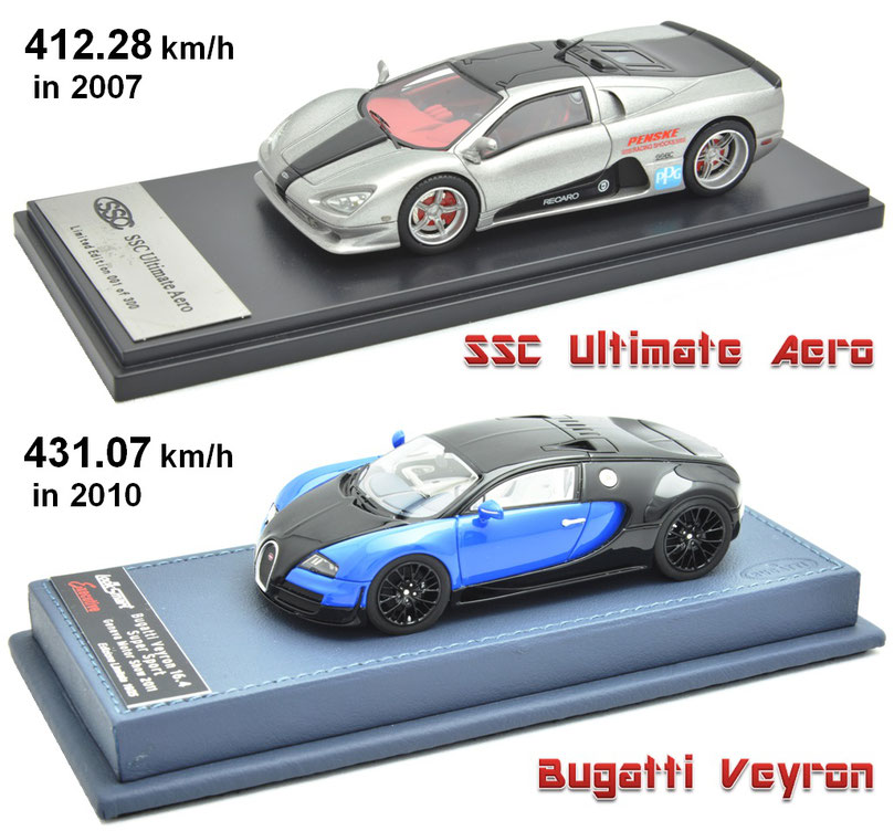 1/43 SSC Ultimate Aero, Bugatti Veyron, アルティメット・エアロ、ブガッティ・ヴェイロン 世界最速記録車