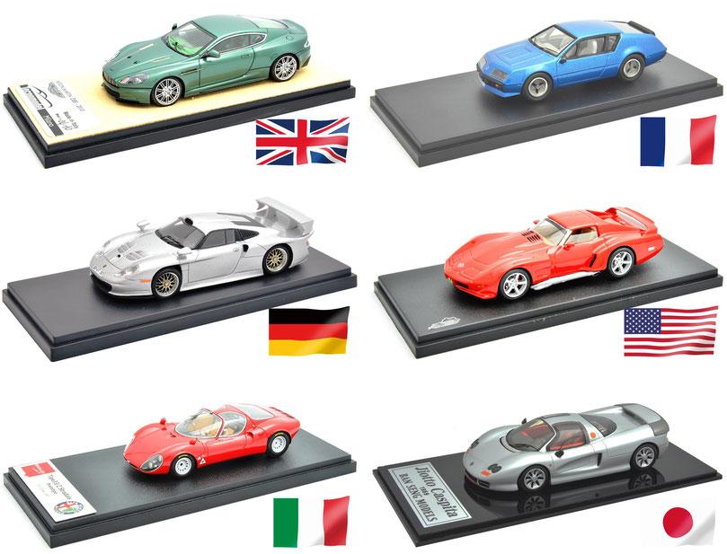 世界モデルカー博物館, 英独伊仏米日6箇国の1/43モデルカー