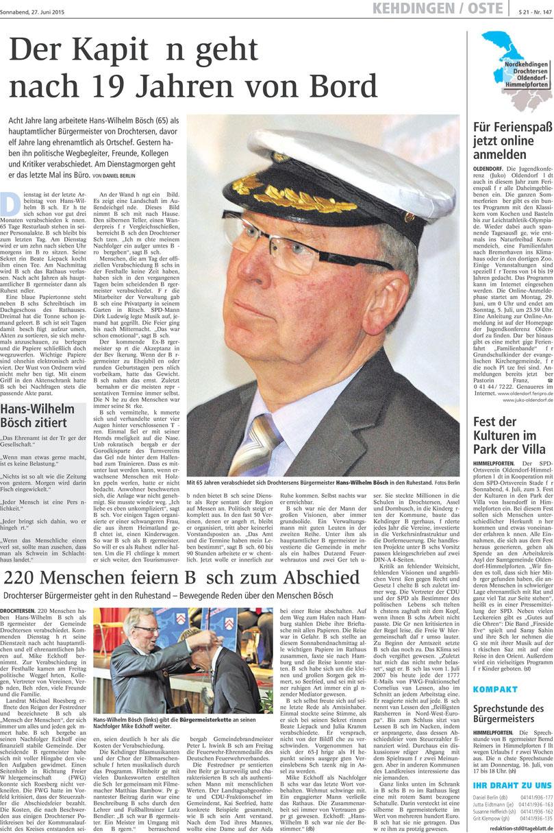 Stader Tageblatt vom 27. Juni 2015
