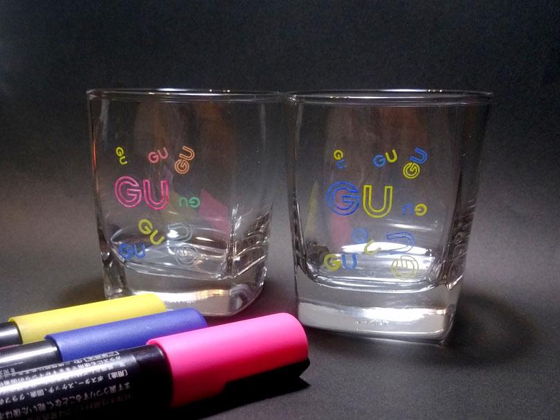 グラスの塗り絵製作 GU三川店 開店記念品ノベルティ ガラスアート体験